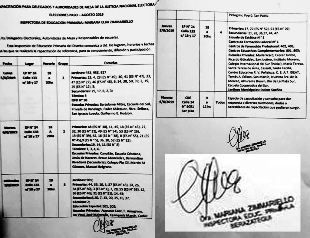 """Detalle de la Capacitación para """"AuRoridades"""" de Mesa, firmada por la profesional de la educación que más sabe en el distrito."""